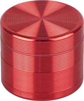 """Grinder Metall """"Rillen"""" 4tlg. rot  Durchmesser 55mm/H47mm"""