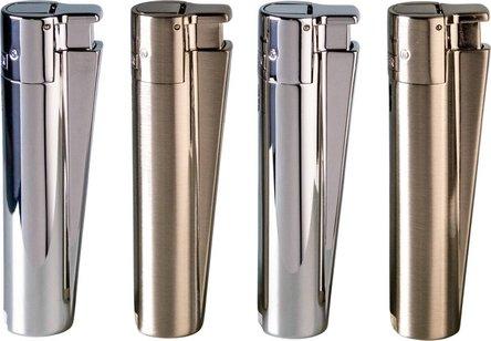 Clipper Jet-Feuerzeug Metall silber sortiert