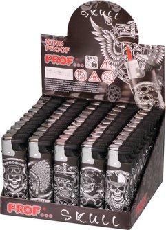 "PROF Turbo-Feuerzeug ""Skullsfamily"" sortiert mit Slidecap"