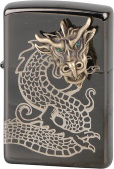 "Org.ZIPPO Ebony gelasert Emblem ""Golden Dragon Head"" Eg"