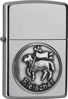 """Org.ZIPPO street chrom Emblem """"Fleischer"""" 2006330"""