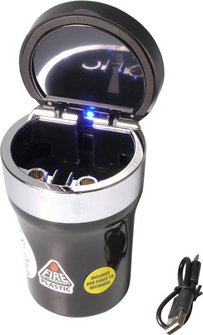 Ascher f.Auto-Dosenhalter m.USB Spiralanzünder u.LED Leuchte