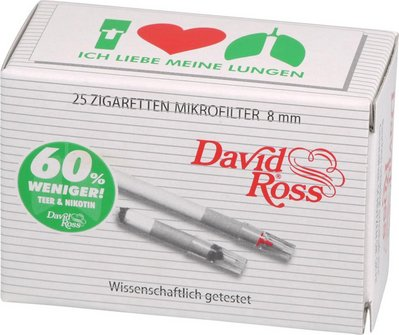 David Ross Minifilter 8mm Sparpack Inh. 25 Minifilter