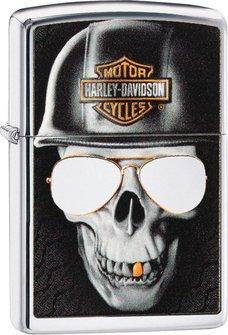 """Org.ZIPPO chrom poliert color """"H.D. Skull Helmet"""" 60004323"""