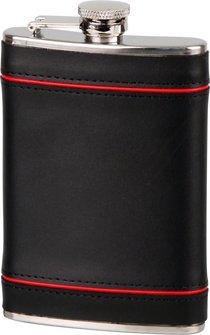 Flachmann Edelstahl/ Leder schwarz/rot  8oz/240 ml