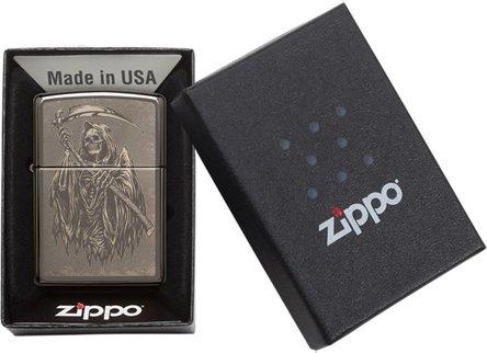 "Org.ZIPPO Black Ice Photo Image ""Reaper"" 60004343"