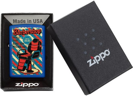 "Org.ZIPPO blau matt color ""Barbershop"" 60004348"