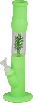 Bong Silikon grün m.Glas-Einsatz u.Spirale 35.5cm, Dm.58mm