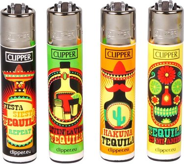 "Clipper Mehrweg-Feuerzeug ""Tequila Time"" sortiert  Sz"