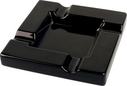 Cigarrenascher Keramik schwarz glänzend 4 Ablagen