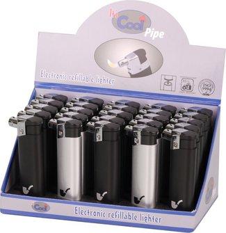 COOL Mehrwegfeuerzeug-Pfeifenfeuerzeug schwarz/silber sort.