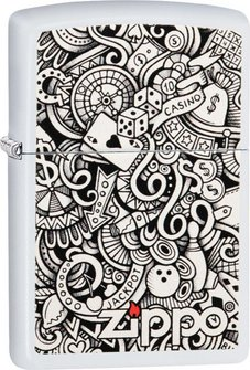"""Org.ZIPPO weiß color """"Gambling Collage"""" 60004352"""