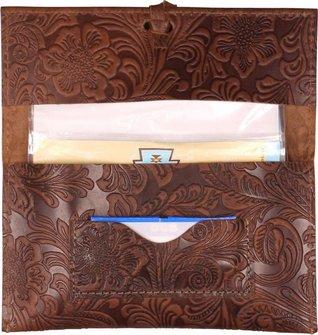 Drehertasche Leder braun/beige Steppung Flowerprint 16cm