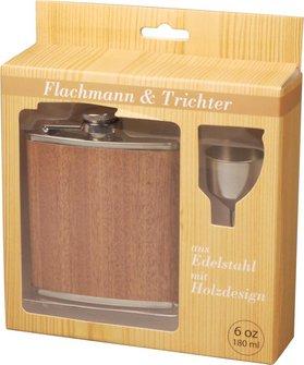 "Flachmann-Set ""Nature"" Edelstahl Holzdesign 6oz/180ml"