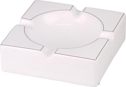 Cigarrenascher Keramik weiß glänzend/Silberrand  4 Ablagen