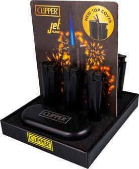 Clipper Jet-Feuerzeug Metall schwarz matt