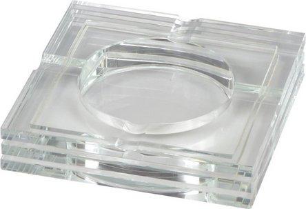 Cigarrenascher Glas transparent quadratisch  4 Ablagen