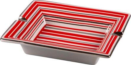 Ascher Porzellan Streifen rot/silber 2 Ablagen