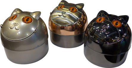 "Klappascher ""Katze"" metallfarbig sortiert  9cm"