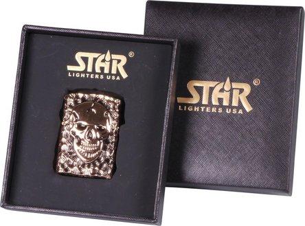 "STAR Double Jet Feuerzeug rosegold ""Skull"""