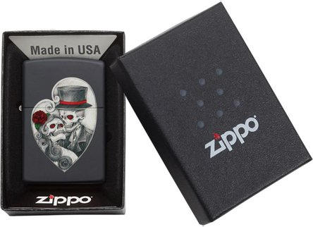 "Org.ZIPPO schwarz color ""Skull Couple Heart"" 60004392"