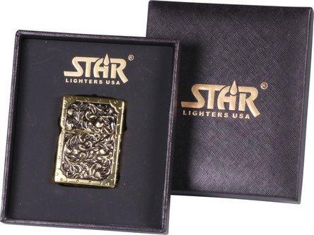 "STAR Double Jet Feuerzeug gold ""Flower"""