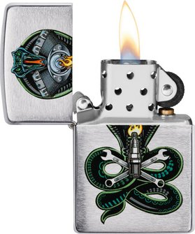 "Org.ZIPPO chrom gebürstet color ""Snake Engine"" 60004393"