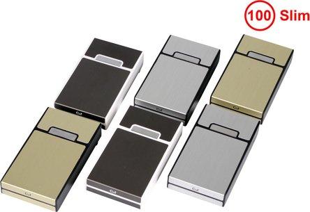 Cool Zigarettenbox Kunststoff Metalloptik sort. 100mm/Slim