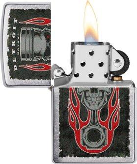 """Org.ZIPPO chrom geb.col. """"Detroit Piston Skull Flame""""6004394"""