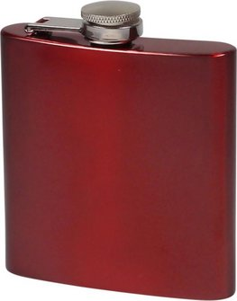 Flachmann Edelstahl rot metallic glänzend  6oz/180ml