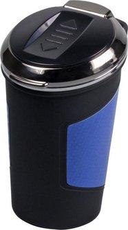 Ascher f.Auto-Dosenhalter m.USB Anz.chr./schw/Carbondes.blau