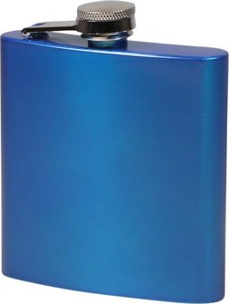 Flachmann Edelstahl blau metallic matt  6oz/180ml