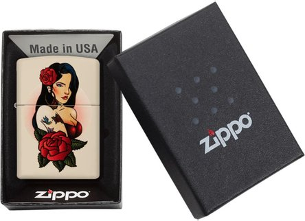 "Org. ZIPPO creme color ""Pin Up Tattoo Girl Design"" 60004397"