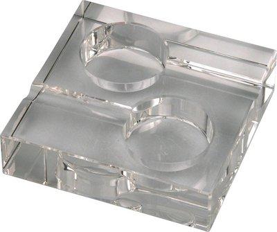 Cigarrenascher Kristallglas/quadratisch  2 Ablagen