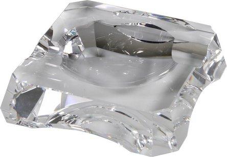 Cigarrenascher Kristallglas quadratisch  2 Ablagen