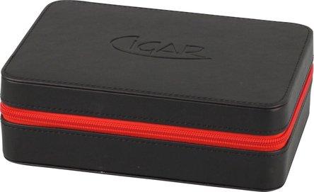 Reise-Humidor Lederoptik schwarz/RV rot für ca. 5 Cigarren