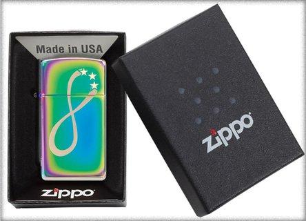 """Org.ZIPPO """"Slim"""" Rainbow gelasert """"Infinity Stars"""" 60004411"""