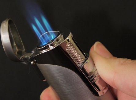SKY 3-Flammen Cigarrenfzg. chrom satin/chrom poliert