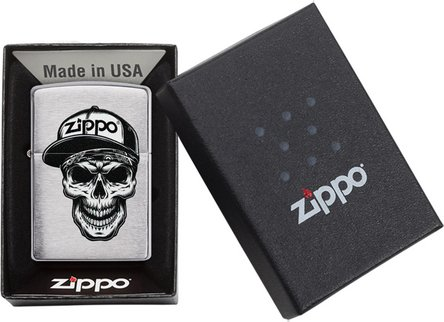 "Org.ZIPPO chrom gebürstet color ""Skull with Cap"" 60004412"