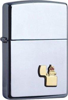 Org.ZIPPO chrom poliert mit ZIPPO-Emblem 60001341