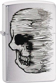 """Org.ZIPPO chrom gebürstet color """"Skull Lined"""" 60004413"""