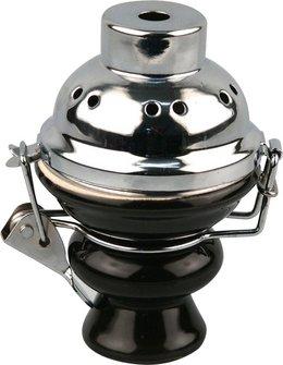 Kopf schwarz groß für Wasserpfeife mit Windschutz chrom