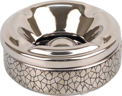 Salon-Ascher rund Keramik chrom/Crackle schwarz 12cm