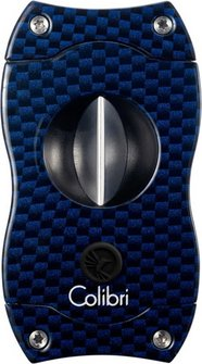 "COLIBRI Cigarrenabschneider ""V-Cut"" blau/Carbondruck"