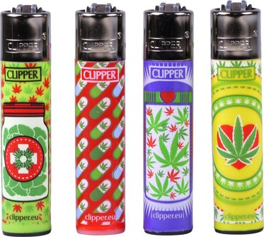 """Clipper Mehrweg-Feuerzeug """"Happy Weeds"""" sortiert  Sz"""