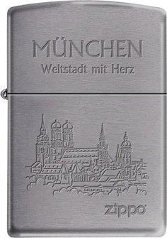 """Org.ZIPPO chrom gebürstet grav. """"München"""" Ha"""