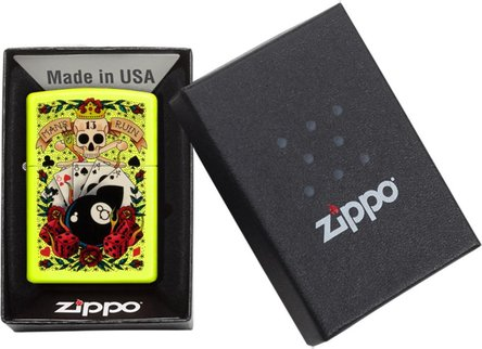 "Org.ZIPPO gelb color ""8 Ball Tattoo"" 60004443"