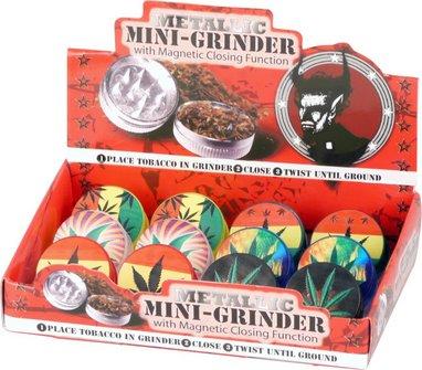 """Grinder plastic""""Cannabis"""" 2-part asst.colors diam.42mm/H20mm"""
