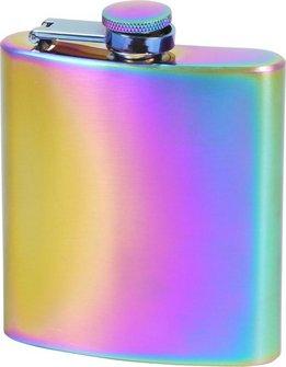 Flachmann Edelstahl rainbow poliert  6oz/180ml
