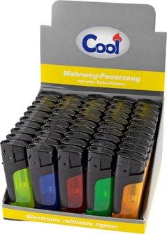 """COOL Mehrwegfeuerzeug """"Turbo"""" sortiert mit roter Flamme"""